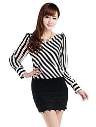 Women's Black And White Striped Long Sleeved Chiffon Shirt