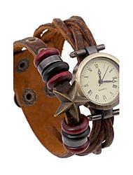женская ретро ткать тиснением кожаный браслет часы