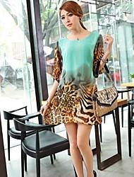 Women'S Leopard Lantern Sleeve Loose Chiffon Dress