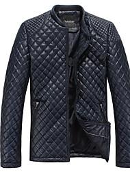 shanghele мужской стенд воротник досуг пу пальто