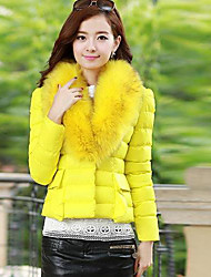 Women's Fur Collar Cotton Slim Waist Short Coat