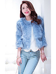 3/4 Sleeve Collarless Fox Fur Casual/Party Jacket(More Colors)