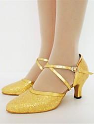 paillette buckie superior de salón latino zapatos de las mujeres de los altos talones