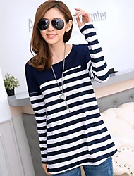 Women's Stripe Round Collar Cotton T Shirt