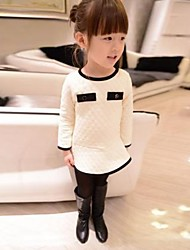 Girl's Black / White Dress,Solid Cotton Blend Winter / Spring / Fall