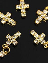10pcs d'or bricolage strass passage pendant doigt accessoires Conseils Nail Art Décoration