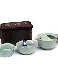 stile cinese 3 pezzi set da tè in porcellana, 1 pc teiera, 2 pz tazza di tè