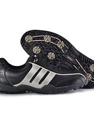 pgm couro microfibra masculina + 150 borracha mpr único preto + prata sapatos de golfe anti-derrapante
