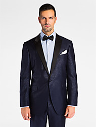 Dark Blue Polyester Tailored Fit Jacket