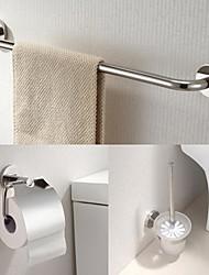 aço inoxidável 3 peças de acessórios de casa de banho set bar toalha e suporte de tecido e porta-escova de vaso sanitário