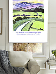 Modern Ink Painting Style Cartoon Mountain & Farmland Roller Shade