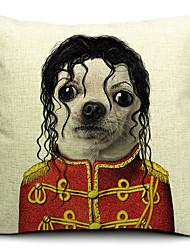 desenhos animados bonitos do cão de algodão / linho fronha decorativo