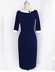 Monta Slim Fit Three Quarter Sleeves Dress With Lapel
