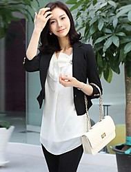 Women's Fall Blazer,Solid ¾ Sleeve White / Black Opaque