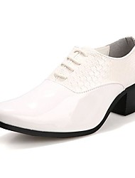 Men's Spring / Summer / Fall / Winter Pointed Toe Leather / Patent Leather Office & Career / Casual / Party & Evening Chunky Heel Lace-up