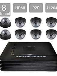 8 canal HDMI DVR CCTV 8 interiores de segurança visão kit sistema de câmera 632-1ca08v