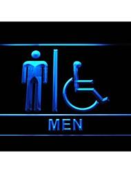 I1024 handicapés handicap en fauteuil roulant hommes accessibles toilettes WC enseigne au néon