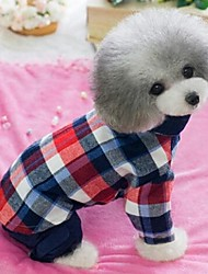Dog Shirt / T-Shirt Red / Blue / Orange Spring/Fall Jeans / Plaid/Check Cosplay