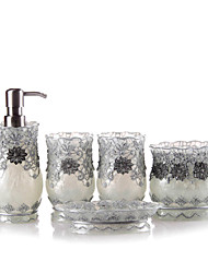 5 Piece Bath Collection Set Resin Material Silver Color,Bath Ensemble, Bath Accessory Set