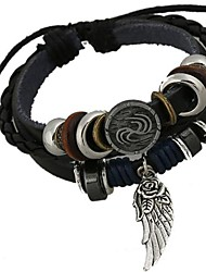 The New European Style Beaded Angel Wings Leather Bracelet