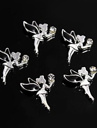 10pcs Black Alloy Rhinestone Fairy Angel 3D Alloy Nail Art Decoration