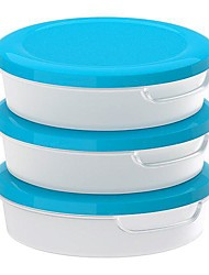 Round Transparent White Food Container with Lid Polypropylene Plastic 3 pack, 13.5x13.5x4CM