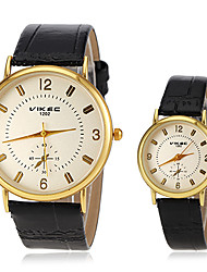 Couple's Casual Gold Case PU Band Quartz Wrist Watch (Assorted Colors) Cool Watches Unique Watches