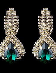 moda elegante zaffiro blu acqua goccioline orecchini strass con orecchini di cristallo (blu bianco verde) (1 coppia)