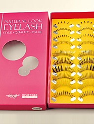 10 Pairs 100% Handmade  Artificial Fiber with Transparent Plastic Stalk, Mixed Upper and Lower False Eyelashes