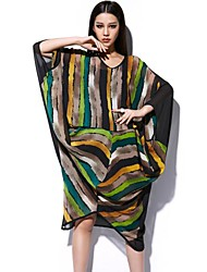 Women's Multi-color Dress , Sexy/Casual ¾ Sleeve