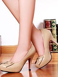 zapatos de las mujeres del dedo del pie redondo tacones de cuero tacón de aguja con zapatos bowknot más colores disponibles