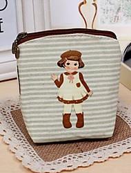 Women's Retro Zipper Girl  Printing Coin Purse Key Case Storage Bag