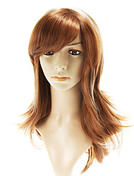 Daily Capless Golden  Long Straight Blonde Wigs Side Bang