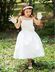 Flower Girl Dress A-line Tea-length - Silk Scoop with Sash / Ribbon