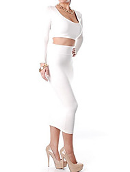 Women's Round Neck Bodycon Short Two Piece Dress