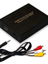 entrada hd 1080p hdmi completo a audio av r / l adaptador convertidor de vídeo CVBS, a estrenar