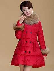 Women's Winter Fur Collar Down Cotton Padded A-Line Coat