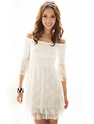 BALI Fashion Off The Shoulder Solid Color Lace Boat Neck