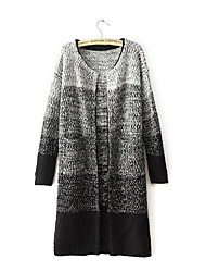Women's Gradual Change in Color with Long Thick Loose Cardigan Sweater