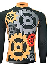 XINTOWN Men 's Gear Breathable Polyester Long Sleeve Cycling Jersey—Black+Yellow