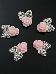 10pcs   Pink Flower Bow Tie 3D Rhinestone DIY Accessories Nail Art Decoration