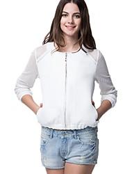 Oxygene Monde® Women's Jacquard Fabric with Long Net Sleeve Baseball Jacket