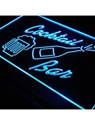 cocktails j329 bar tasse bouteille de bière signe de néon