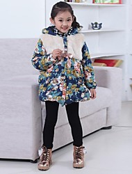 Girl's Fashion And Joker Floral Thickening Warm Coat