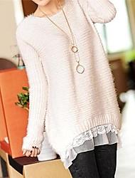 Women's New Fashion Long Sleeve Patch Work Sweater