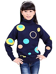 Girl's High Collar Lolita Style Colorful Ring with Spot Long Sleeve Hand Knitted Sweaters