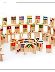 100 pièces drapeau national connaissances jouets en bois de domino