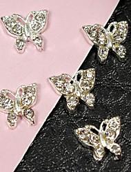 10pcs voando borboleta strass cristal cheio 3d liga nail art decoração