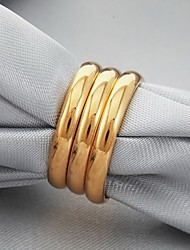 U7 3 PCS High Quality 18K  Chunky Gold Plated Band Rings Classic Simple with 18K Stamp