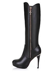 sapatos qq forma salto agulha botas de couro das mulheres